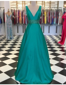 V-neck Green Satin A-line Prom Dress with Beading Belt PD1745