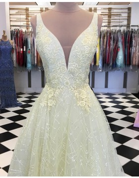 Deep V-neck Light Yellow Appliqued Sparkle Prom Dress PD1746