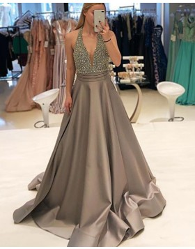 Halter Beading Bodice Satin Brown Prom Dress PD1748