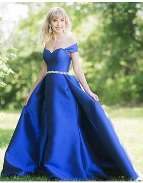 Off the Shoulder Royal Blue Satin Prom Dress with Beading Belt PD1758