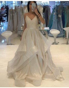 Spaghetti Straps Champagne Tulle Ruffled Ball Gown Prom Dress PD1761