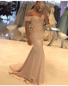 Off the Shoulder Lace Applique Mermaid Satin Prom Dress PD1762