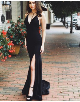 Simple V-neck Black Satin Mermaid Prom Dress with Side Slit PD1764