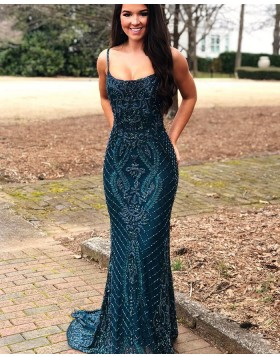 Gorgeous Square Beading Lace Navy Blue Mermaid Evening Dress PD1766