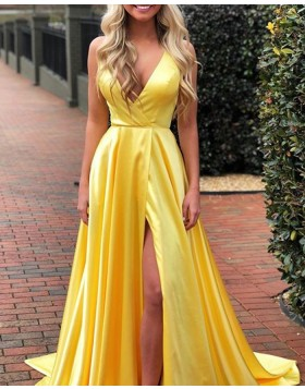 Simple V-neck Yellow Pleated Satin Prom Dress with Side Slit PD1768