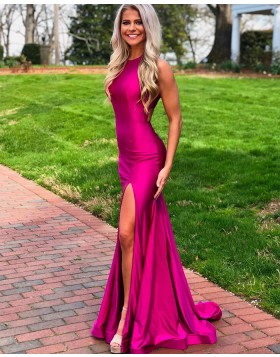Simple High Neck Rose Red Satin Mermaid Prom Dress with Side Slit PD1769