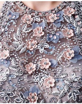 High Neck Beading Bodice Ruffled Black Tulle Evening Dress PD1770