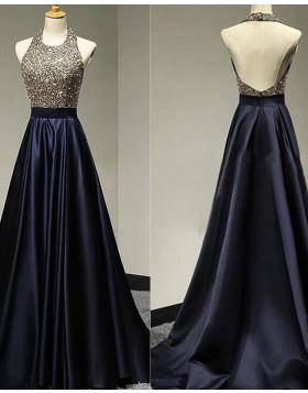 High Neck Beading Bodice Navy Blue Satin Prom Dress PD1771
