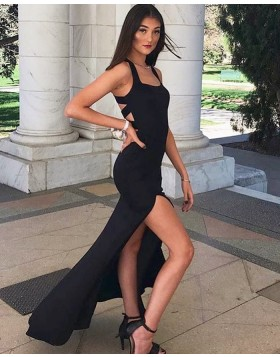Simple Square Black Cutout Satin Prom Dress with Side Slit PD1772