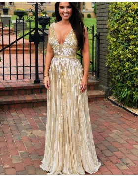 Elegant Sparkle V-neck Gold Sequin Sheath Evening Dress PD1774