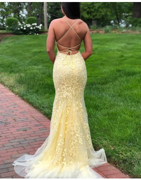 Spaghetti Straps Light Yellow Lace Mermaid Prom Dress PD1775