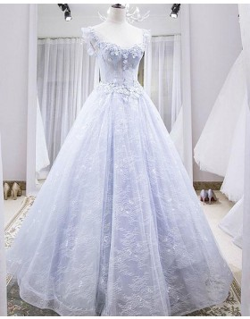 Scoop Lace Light Blue Evening Dress with 3D Flowers PD1776