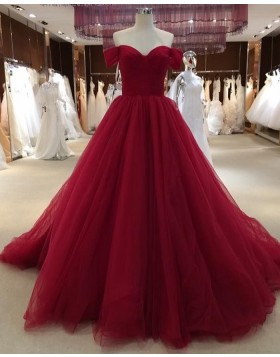 Off the Shoulder Burgundy Pleated Tulle Evening Dress PD1777