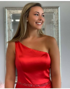 One Shoulder Red Satin Pleated Prom Dress with Side Slit PD1778