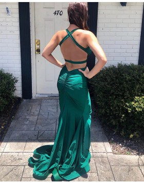 V-neck Green Satin Cutout Mermaid Prom Dress PD1779