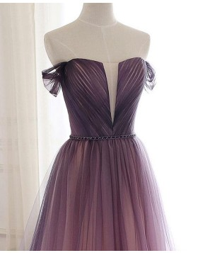 Off the Shoulder Ruched Tulle Ombre Bridesmaid Dress PD1780