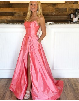 Simple Double Straps Peach Pink Prom Dress with Side Slit PD1783