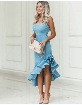 V-neck Dusty Blue Asymmetric Satin Prom Dress with Pleated Skirt PD1784