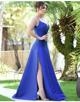 Spaghetti Straps Royal Blue Satin Prom Dress with Side Slit PD1785