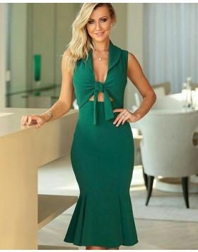 Green Satin Front Knot Mermaid Knee Length Evening Dress PD1789