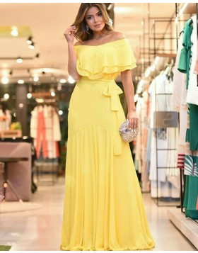 Off the Shoulder Chiffon Pleated Yellow Prom Dress PD1792