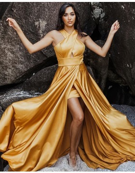 Simple Criss Cross Satin Wax Yellow Prom Dress with Side Slit PD1991