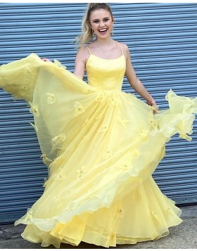 Spaghetti Straps Yellow A-line Prom Dress with Handmade Flowers PD1993