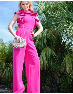 High Neck Fuchsia Satin Jumpsuit with Butterfly Sleeves PD1994