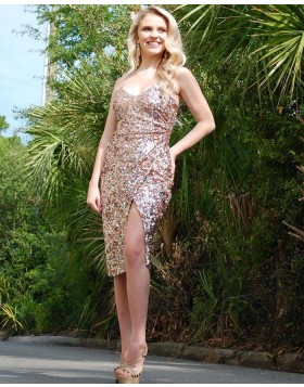 Spaghetti Straps Knee Length Sequin Sheath Formal Dress with Side Slit PD1996
