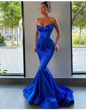 Simple Satin Spaghetti Straps Blue Mermaid Prom Dress PD2002