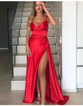 Simple Red Square Neckline Satin Prom Dress with Side Slit PD2005