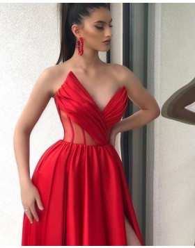 Unique Sweetheart Red Ruched Prom Dress with Side Slit PD2006