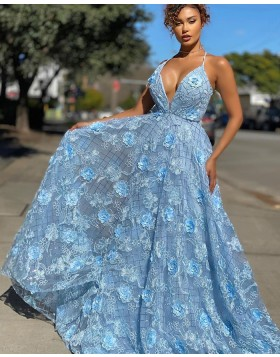Light Blue Spaghetti Straps Lace A-line Prom Dress PD2007