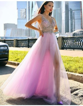 V-neck Beading Bodice Mauve Tulle Prom Dress with Side Slit PD2008