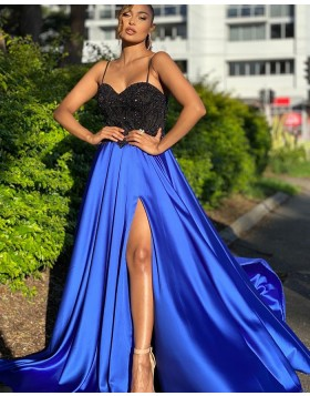Spaghetti Straps Black & Blue Beading Bodice Prom Dress with Side Slit PD2009