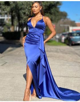 Simple Spaghetti Straps Blue Satin Mermaid Prom Dress PD2011