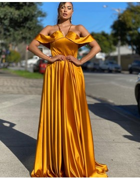Simple Cold Shoulder Gold Satin Prom Dress PD2012