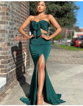 Simple Two Piece Green Knotted Bodice Satin Mermaid Prom Dress with Side Slit PD2013