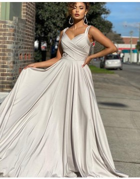 Simple Square Neckline Ruched Grey Satin Prom Dress PD2014