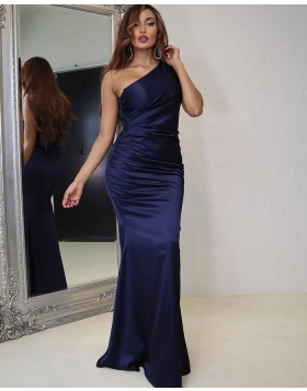 Simple Navy Blue Ruched Satin One Shoulder Prom Dress PD2018