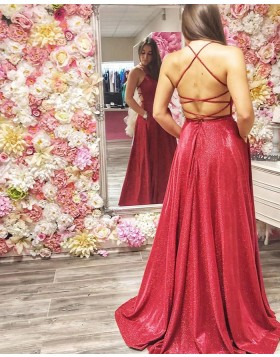 Spagehtti Straps Metallic Red Ruched Prom Dress PD2020
