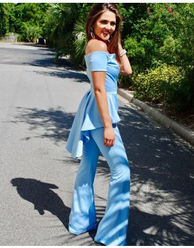 Unique Off the Shoulder Satin Light Blue Jumpsuit with Short Sleeves PD2021