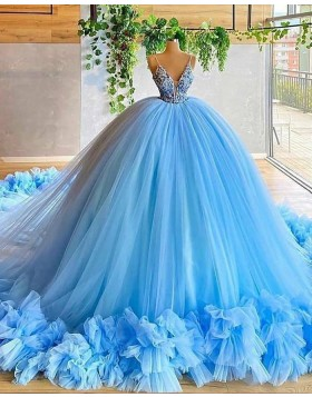 Spaghetti Straps Red Beading Bodice Tulle Ball Gown Evening Dress with Handmade Flowers PD2023