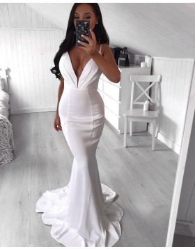 Simple Spaghetti Straps Ruched Satin Mermaid Prom Dress PD2024