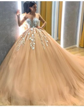 Sweetheart Lace Applique Bodice Champagne Pleated Tulle Prom Dress PD2029