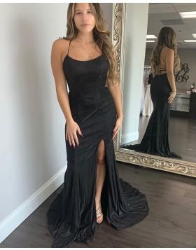 Spagehtti Straps Black Satin Mermaid Prom Dress with Side Slit PD2031