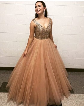 V-neck Beading Bodice Nude Tulle Pleated Prom Dress PD2034