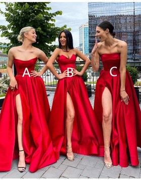 Simple Strapless Red Satin A-line Prom Dress with Side Slit PD2037