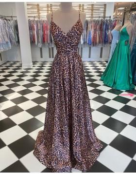 Leopard Print Spaghetti Straps A-line Prom Dress PD2038