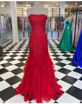 Strapless Lace Applique Red Ruffle Mermaid Prom Dress PD2039